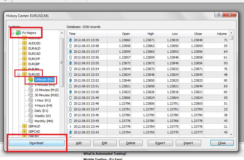descargar historiales para forex tester